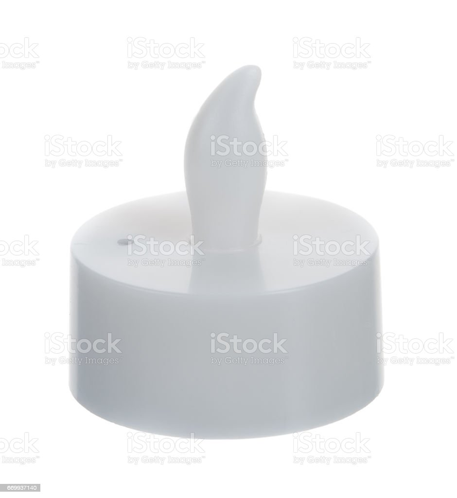 One artificial candle isolated on white background stock photo