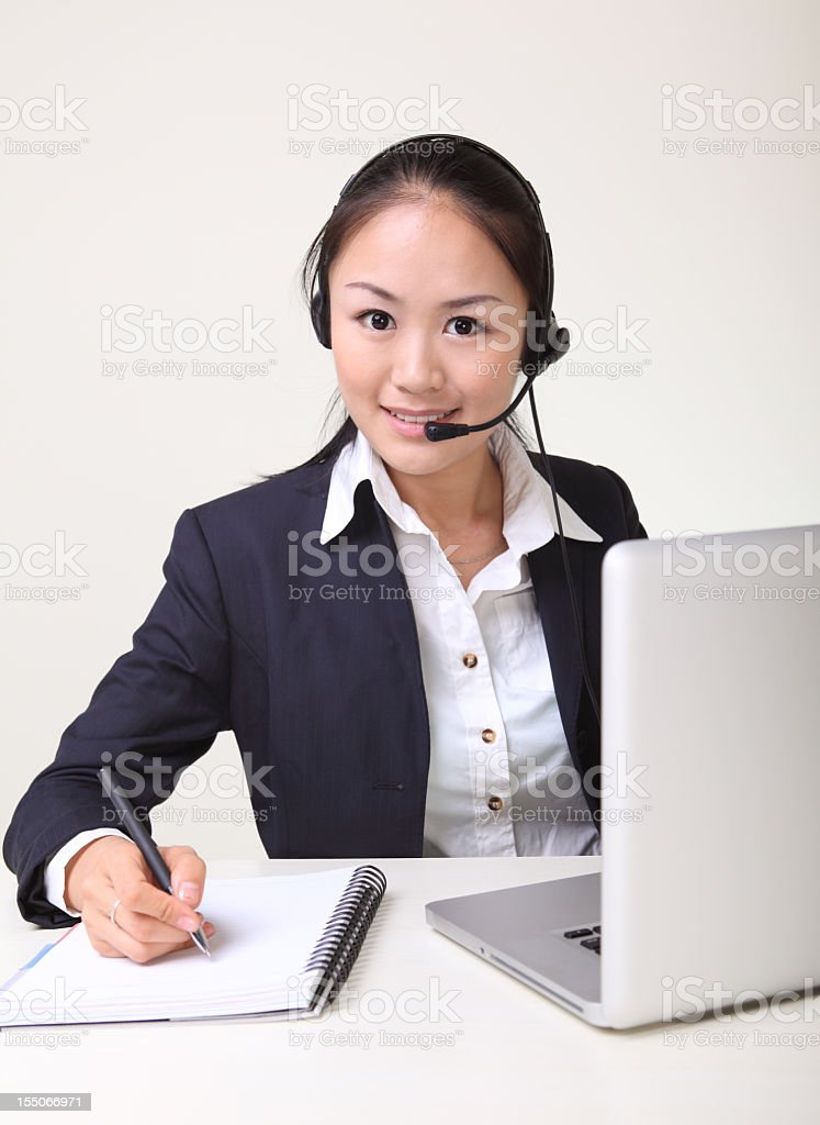 one asian businesswomen useing laptop royalty-free stock photo