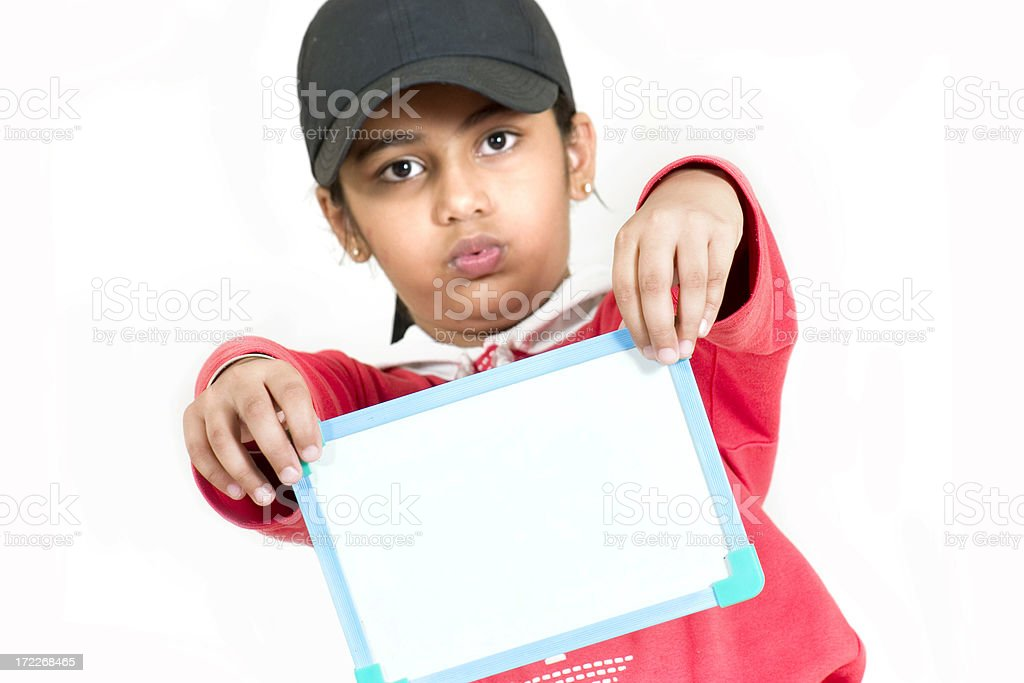 One Asian Indian Girl showing blank board placard copy space royalty-free stock photo