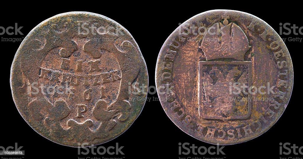 One Austrian kreutzer coin of 1761 year stock photo
