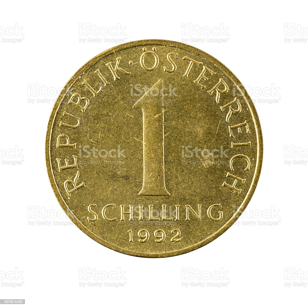 one austrian schilling coin (1959) isolated on white background stock photo