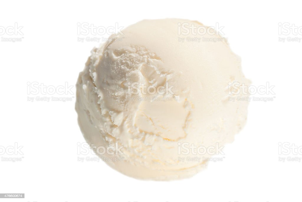 one ball of vanilla ice cream on a white background stock photo