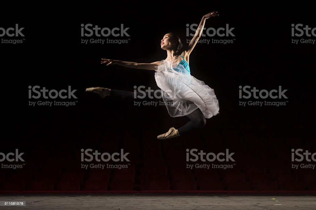 One ballerina jumping. stock photo