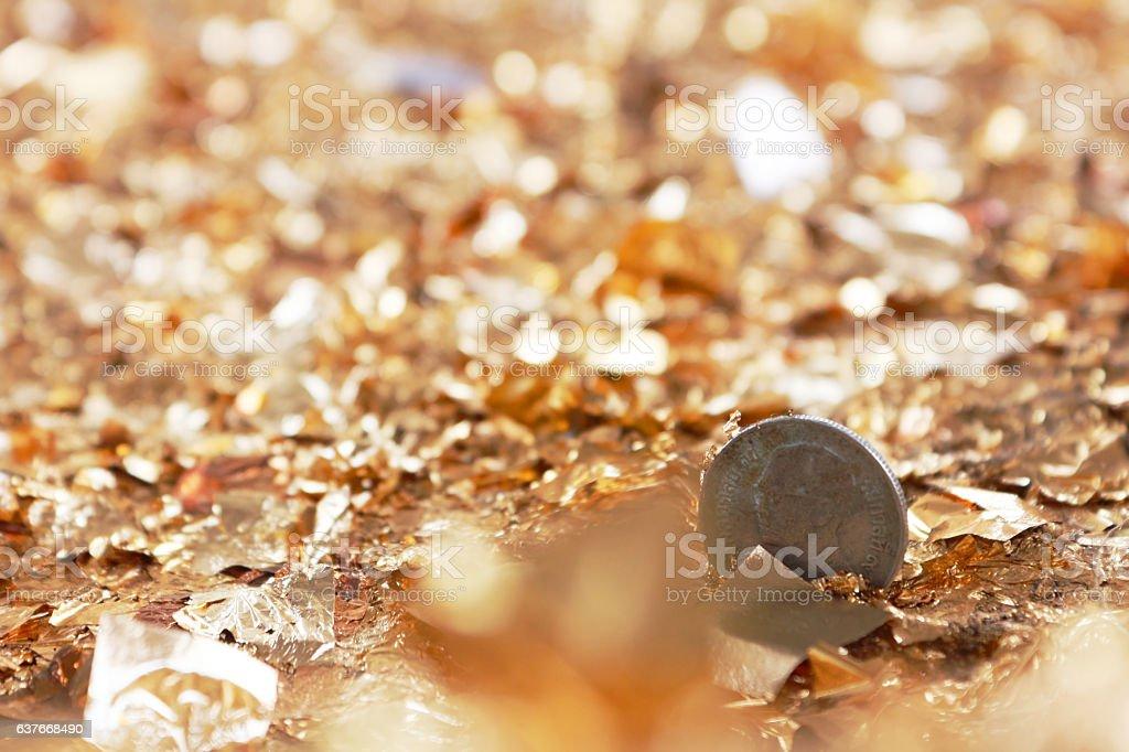 One Bath Thai Coin On Gold Leaf stock photo