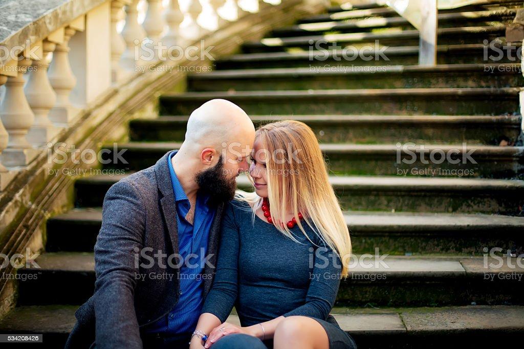 One beautiful stylish couple of young woman and senior man royalty-free stock photo