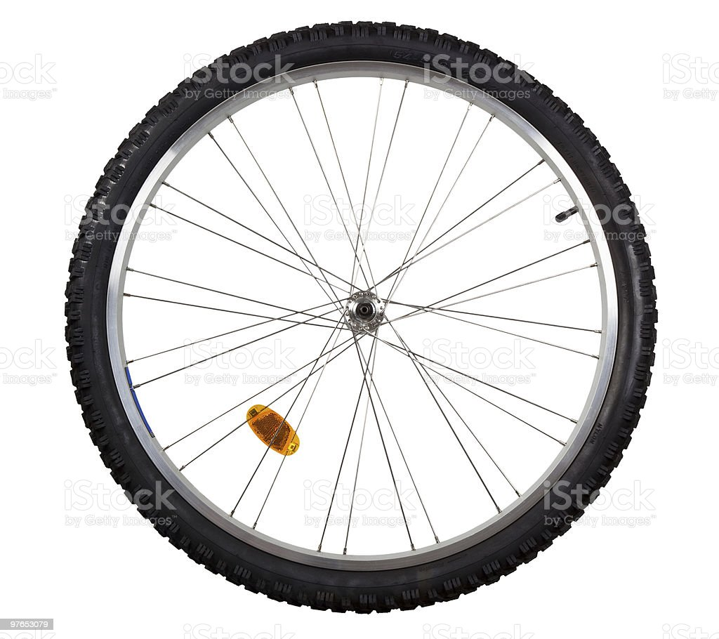 One bicycle wheel with reflector on a white background stock photo