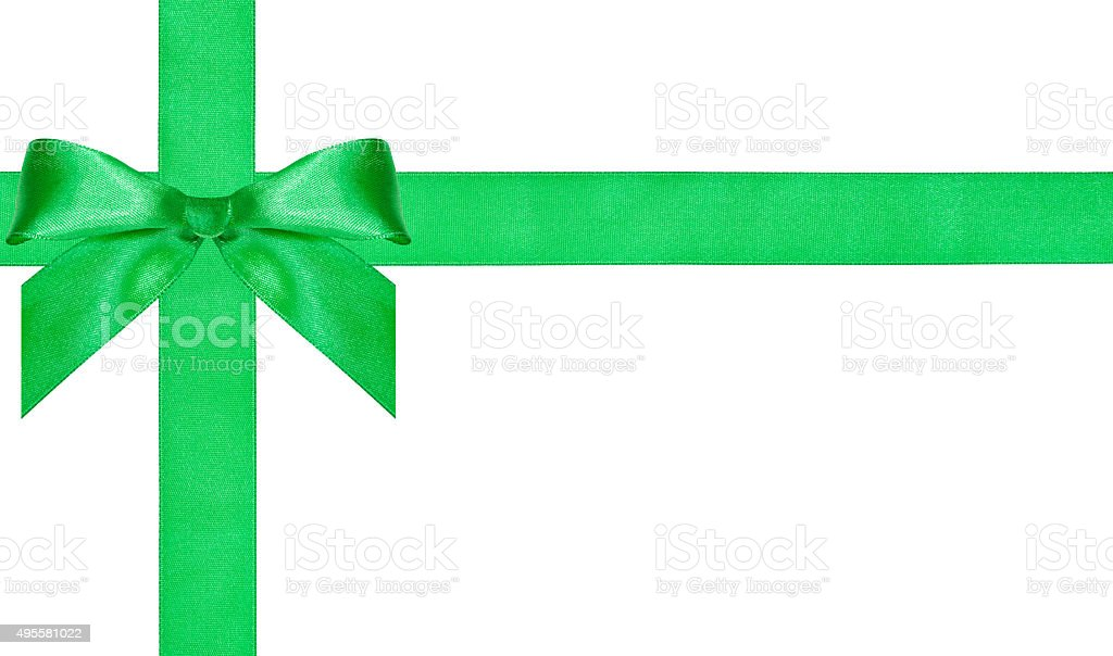 one big green bow knot on two crossing satin bands stock photo