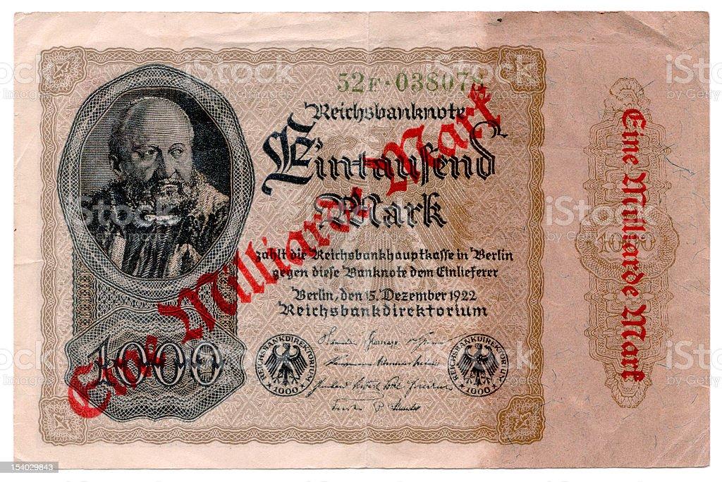 One Billion Mark Note stock photo