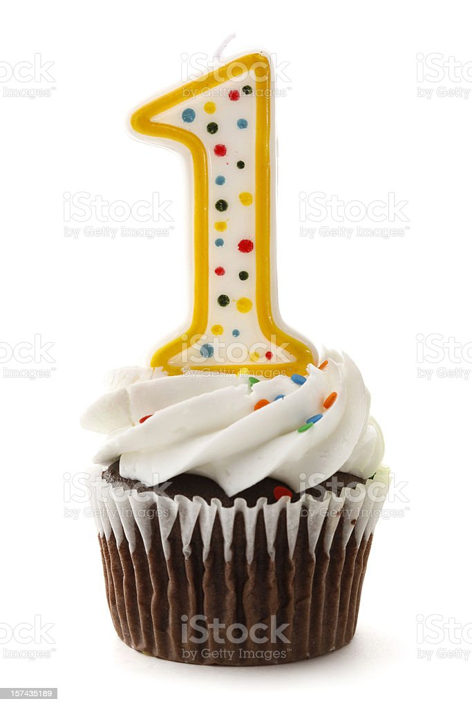 One Birthday Cupcake with Number 1 Candle royalty-free stock photo