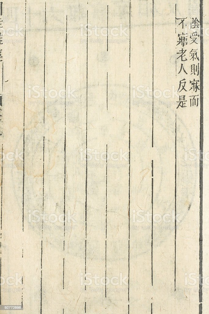 One blank page of Chinese traditional medicine ancient book royalty-free stock photo