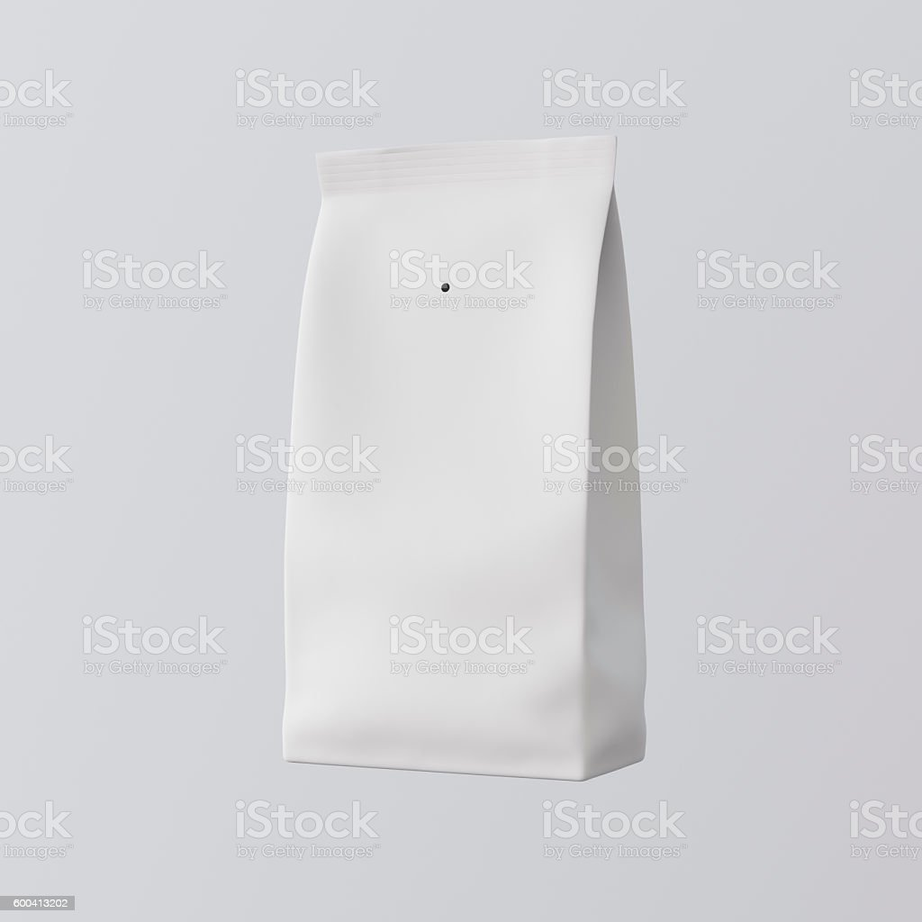 One Blank Painted White Paper Package Bulks Products Coffee Tea stock photo