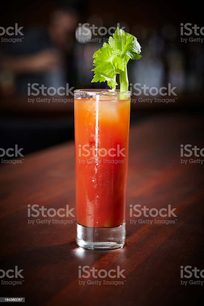 One Bloody Mary drink on a counter stock photo