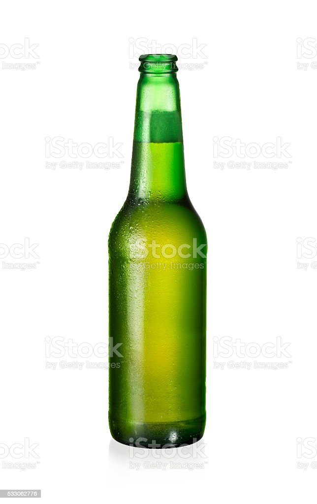 one bottle of fresh beer isolated on white background stock photo