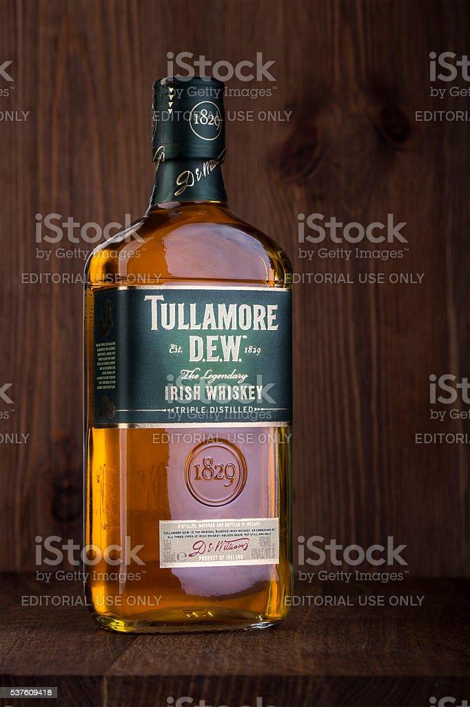 One bottle of Tullamore Dew Irish Whiskey stock photo