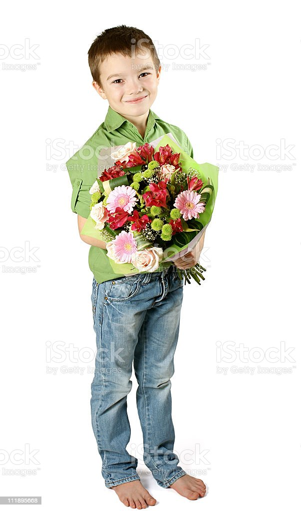 One boy with bouquet of flower royalty-free stock photo