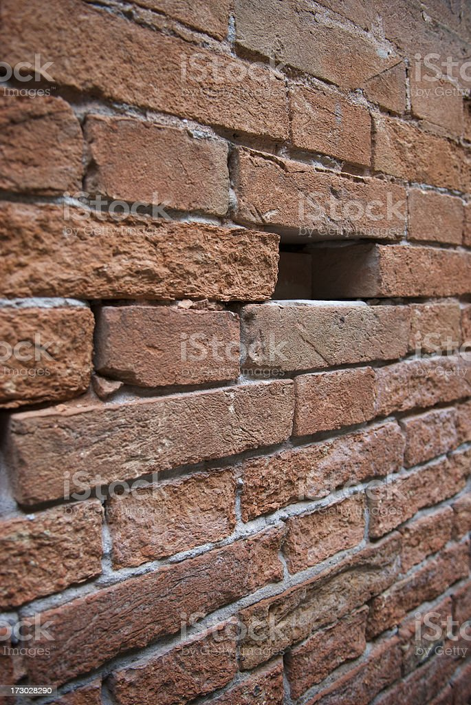 One Brick Missing Wall royalty-free stock photo