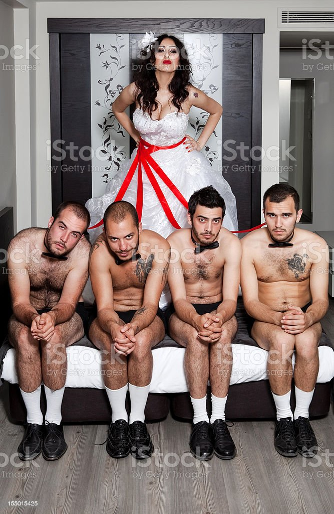 One bride Four grooms royalty-free stock photo