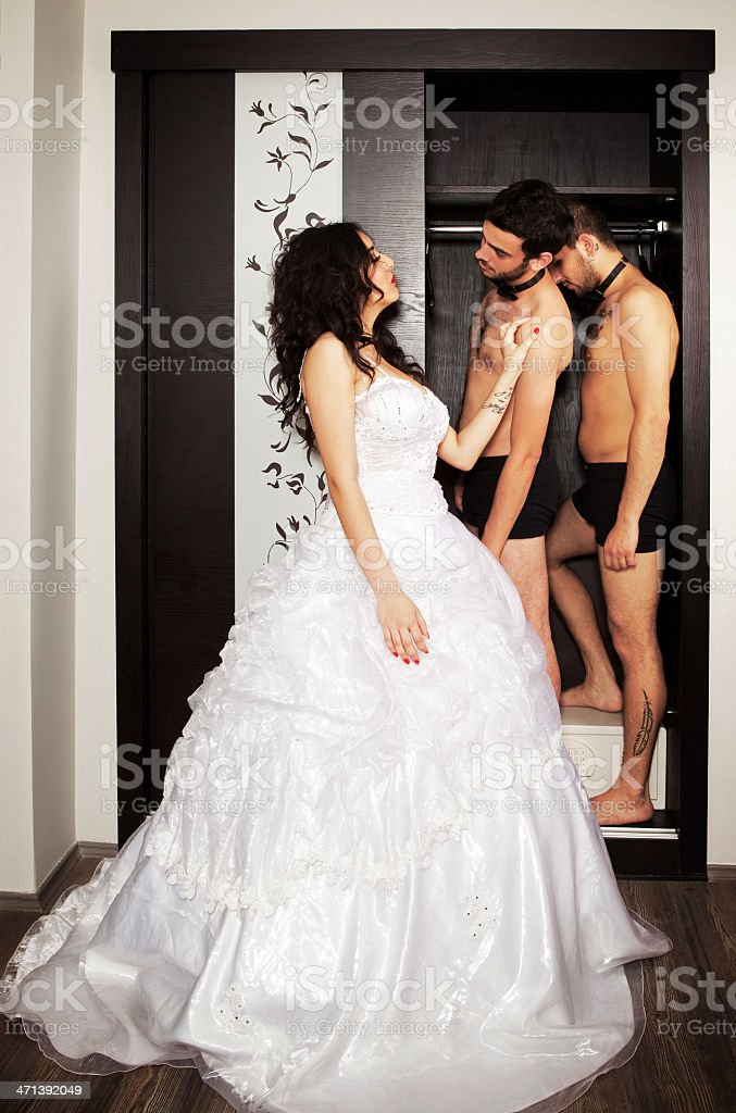 One bride two grooms royalty-free stock photo
