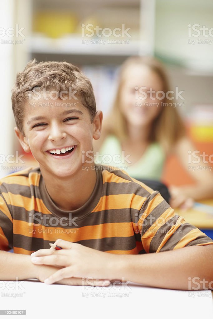 One bright and happy future ahead of this clever student stock photo