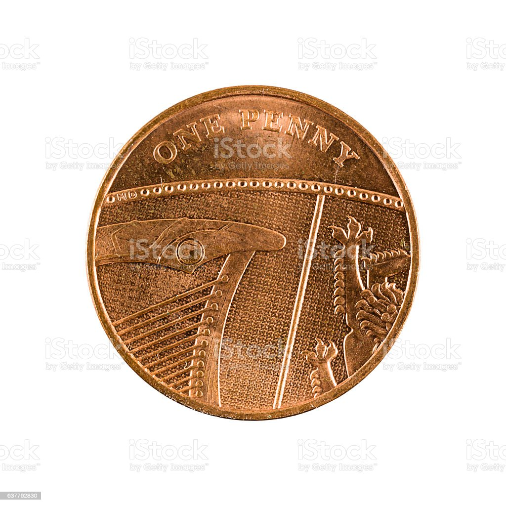 one british penny coin (2009) isolated on white background stock photo