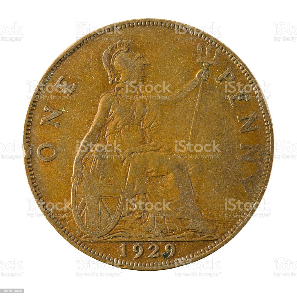 one british penny coin (1929) isolated on white background stock photo