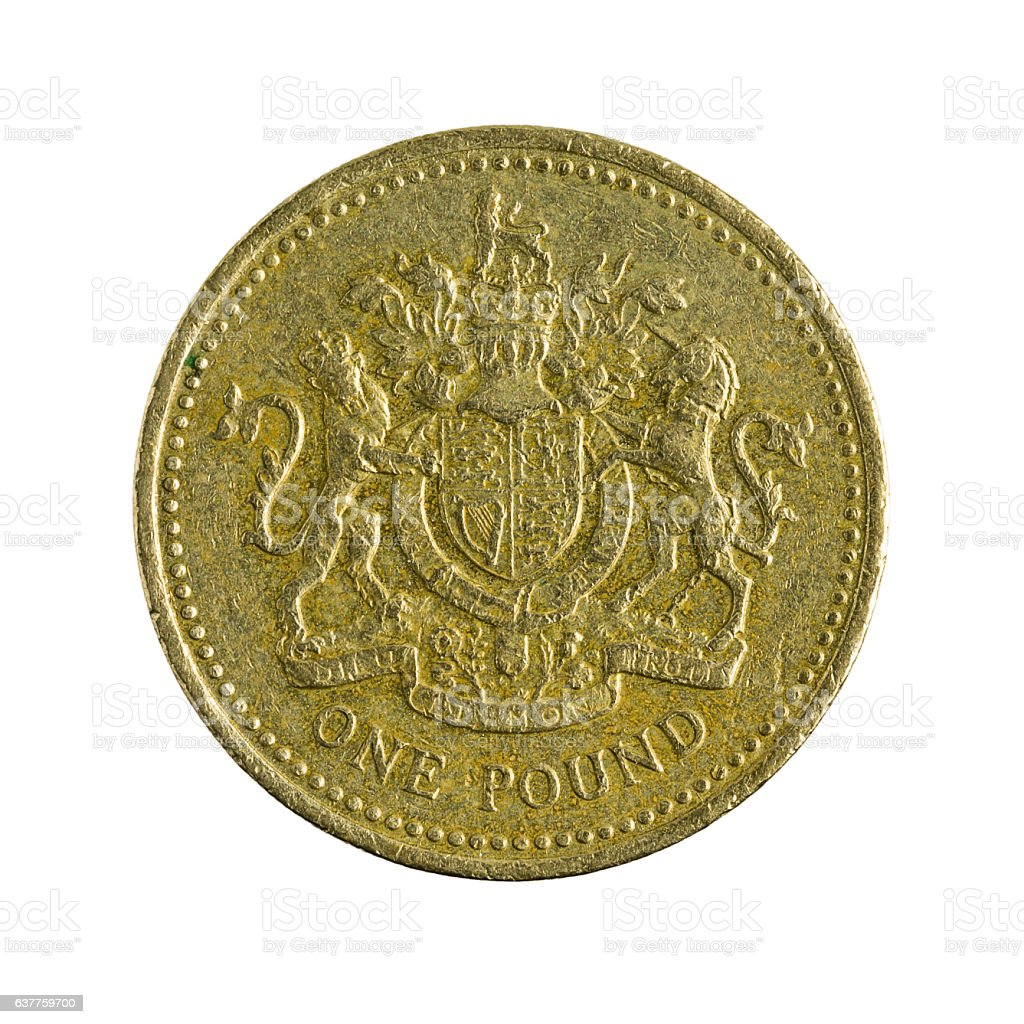 one british pounds coin (2003) isolated on white background stock photo
