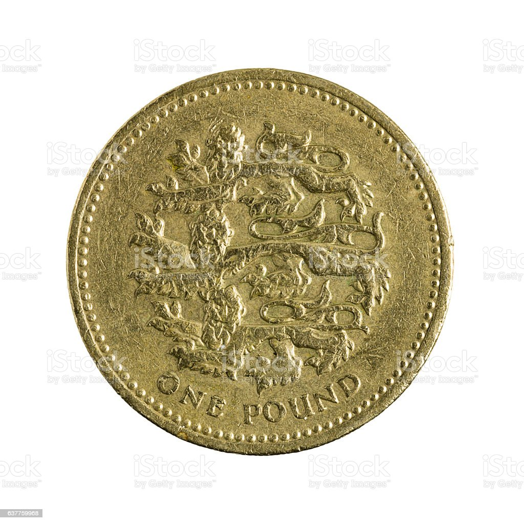 one british pounds coin (2002) isolated on white background stock photo