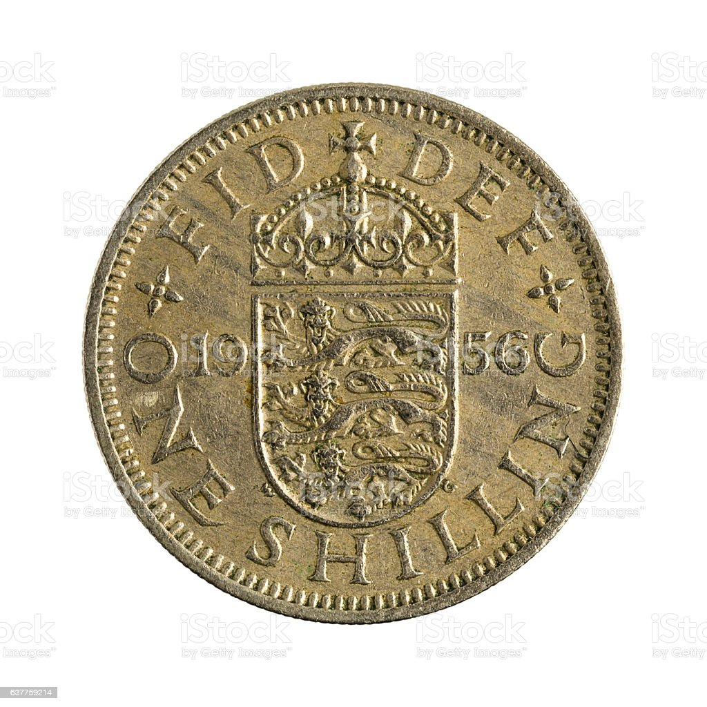 one british shilling coin (1956) isolated on white background stock photo
