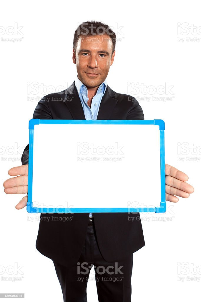 one business man holding showing whiteboard royalty-free stock photo