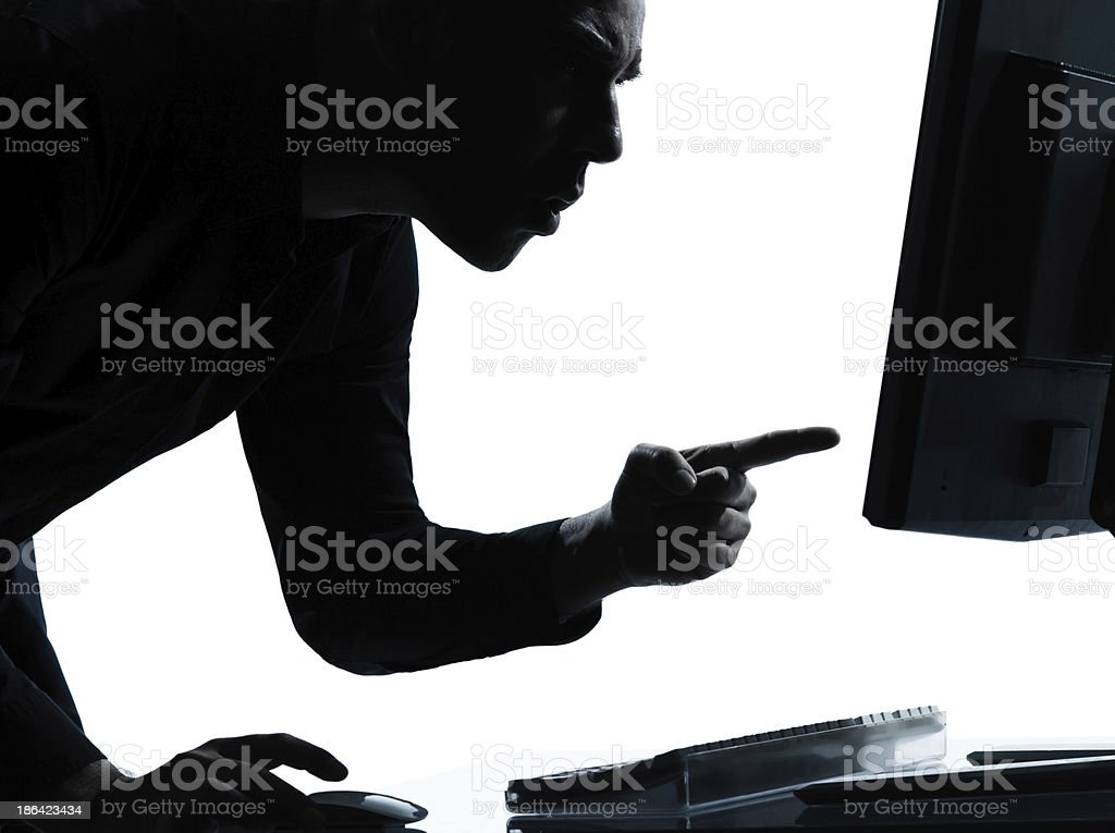 one business man silhouette computing computer angry displeased royalty-free stock photo