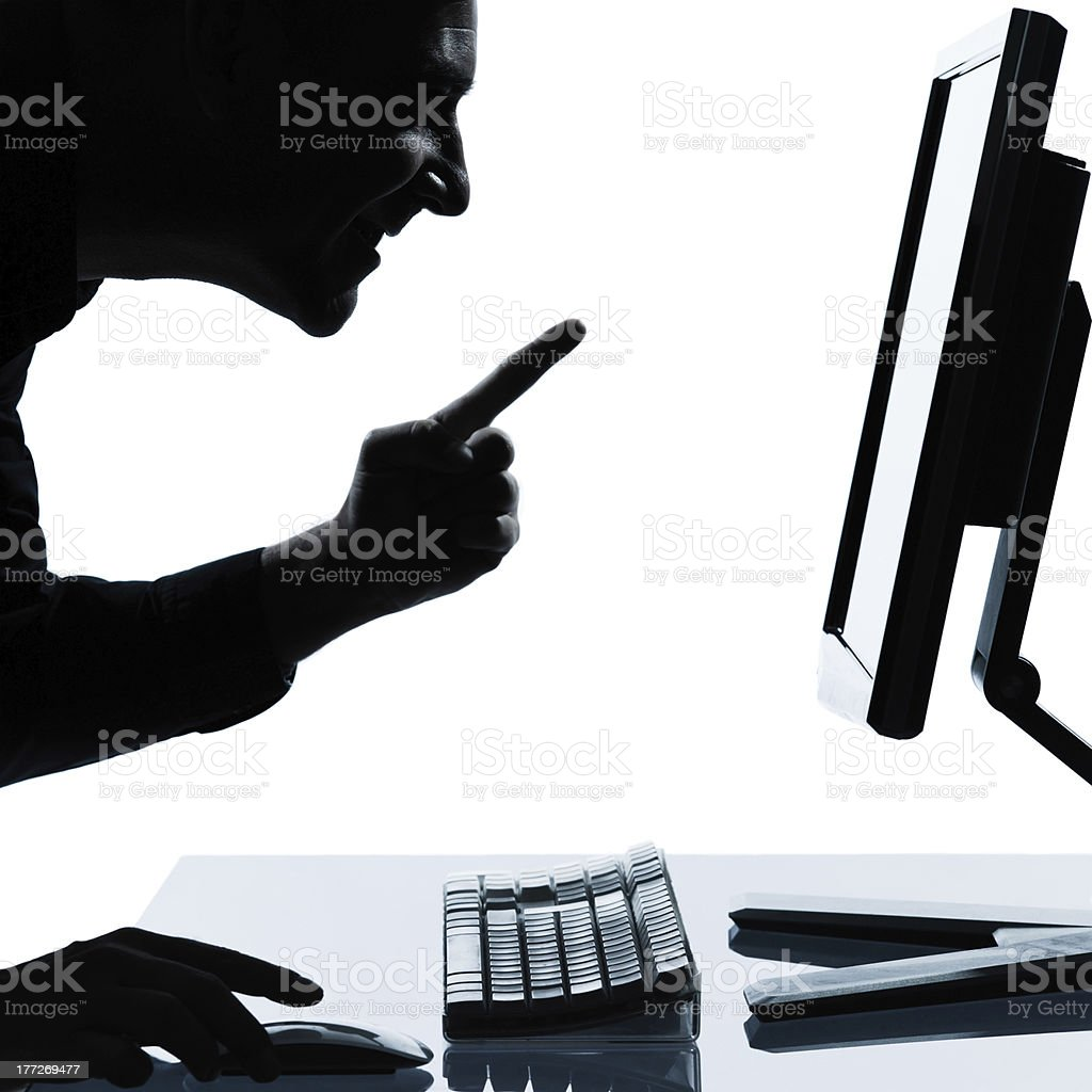 one business man silhouette computing computer happy success royalty-free stock photo