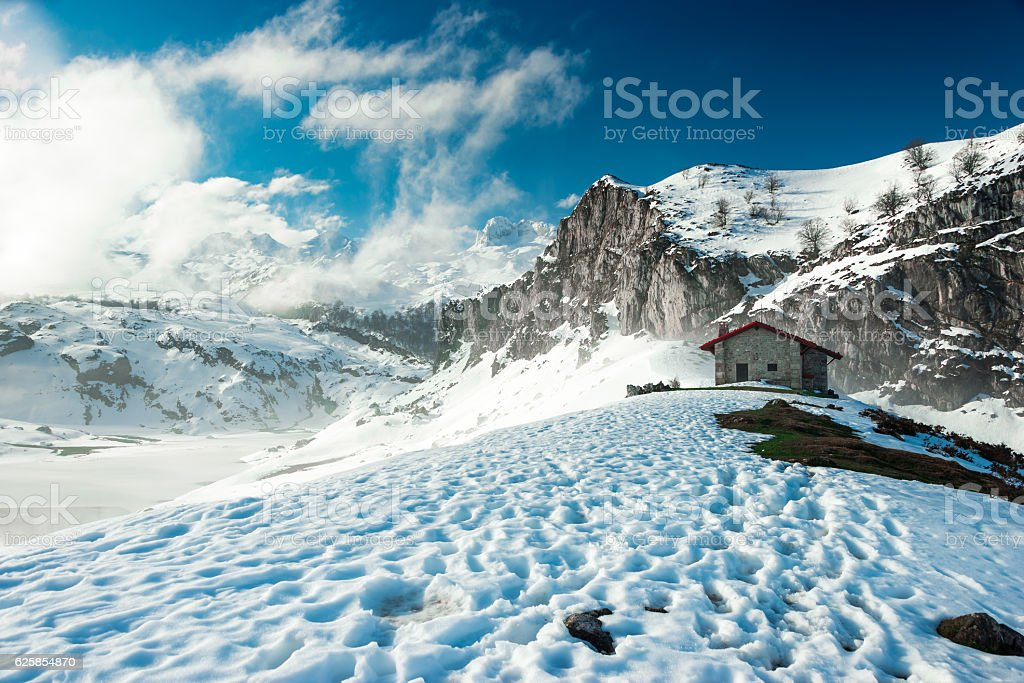 One cabin in the mountains of The Picos de Europa stock photo