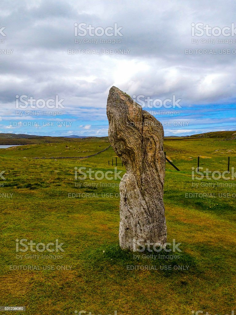 One Callanish Standing Stone, Isle of Lewis, Outer Hebrides, Scotland stock photo