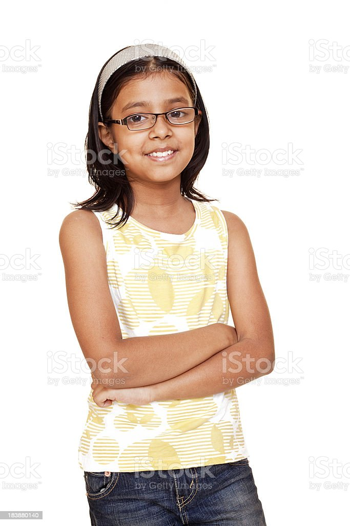 One Casual Cheerful Little Indian Girl Isolated on White stock photo