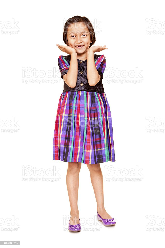 One Casual Cheerful Little Indian Girl Standing Isolated on White royalty-free stock photo