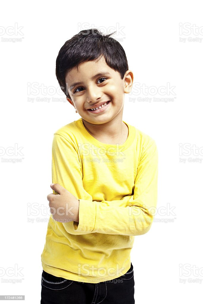 One Casual Indian Boy Child Isolated on White royalty-free stock photo