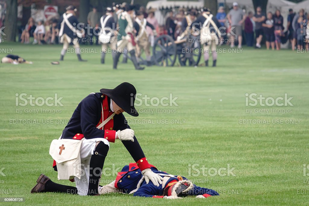 One casualty representing many in American Revolutionary War reenactment stock photo