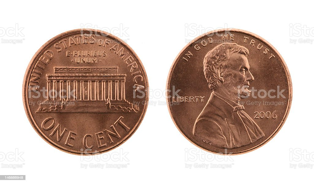 US One Cent Coin Isolated on White stock photo