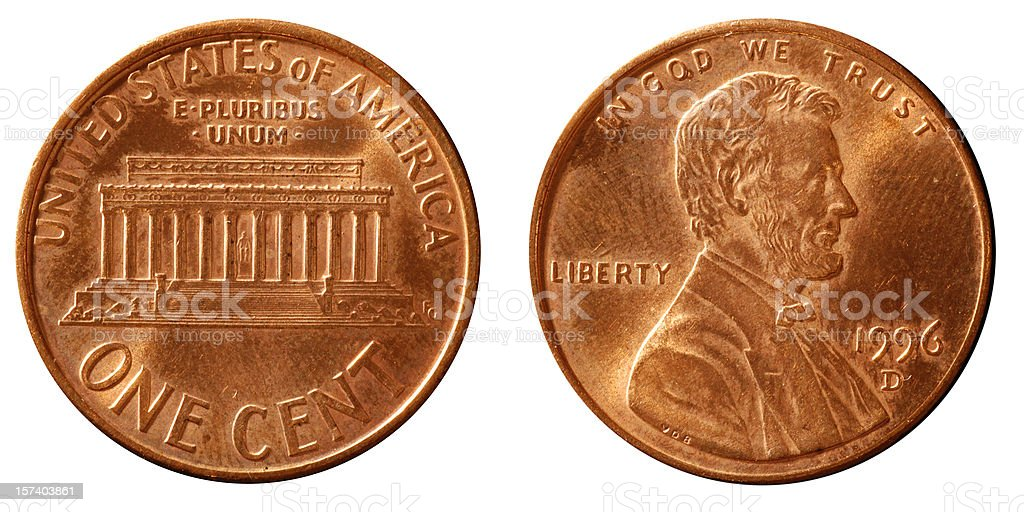 One cent coin macro stock photo