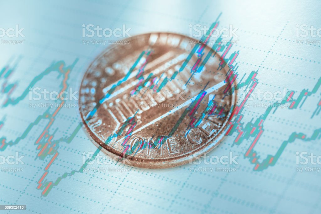 One cent coin stock photo