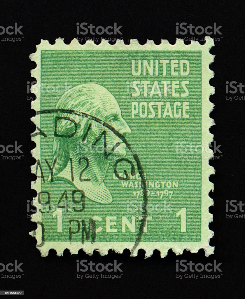 One Cent George Washington Stamp royalty-free stock photo
