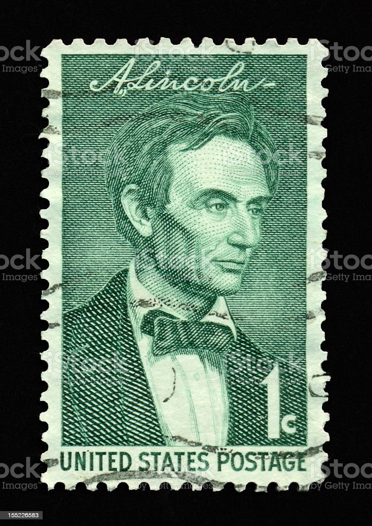 One Cent Lincoln Stamp royalty-free stock photo