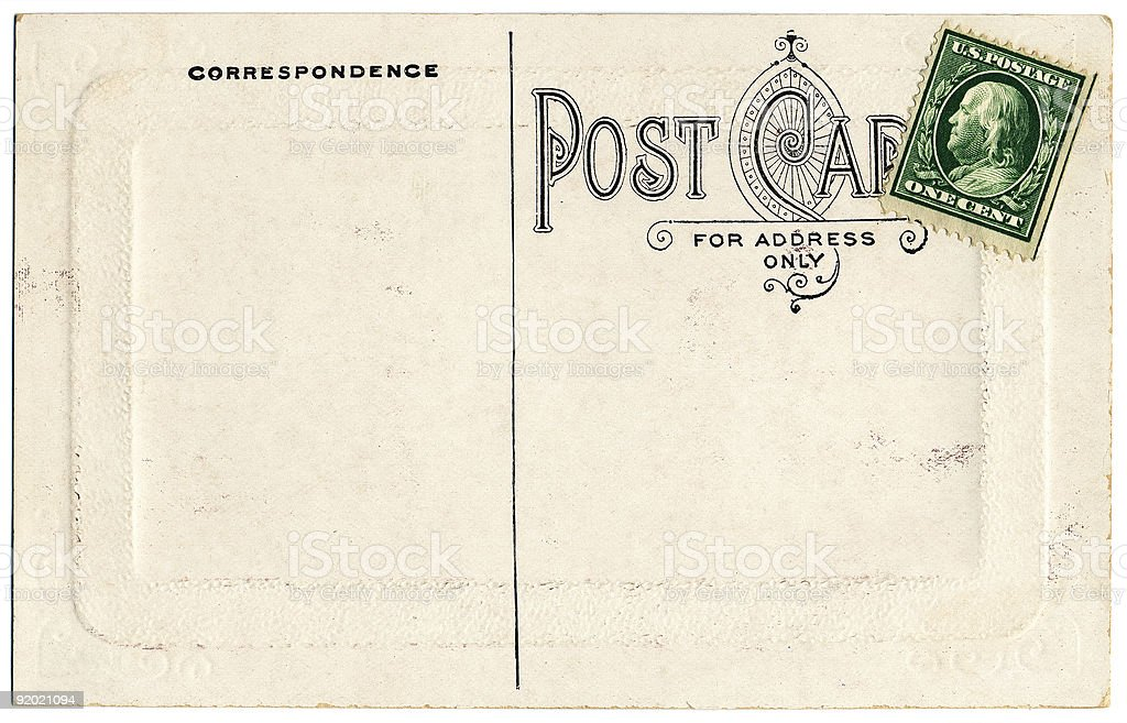 One Cent Postcard royalty-free stock photo