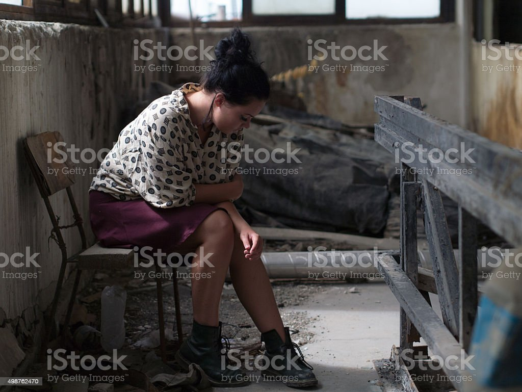 one chair one woman stock photo