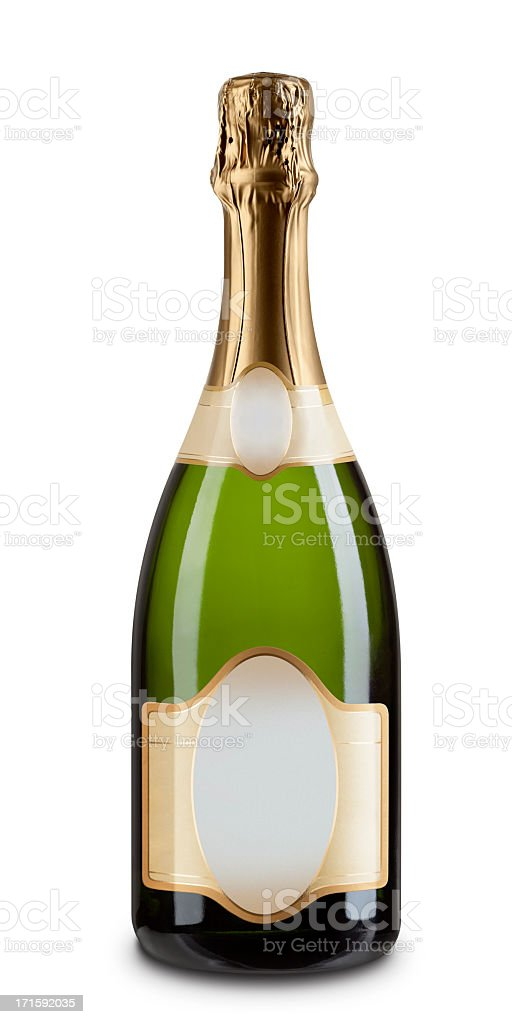 One Champagne Bottle with Blank Label Isolated on White stock photo