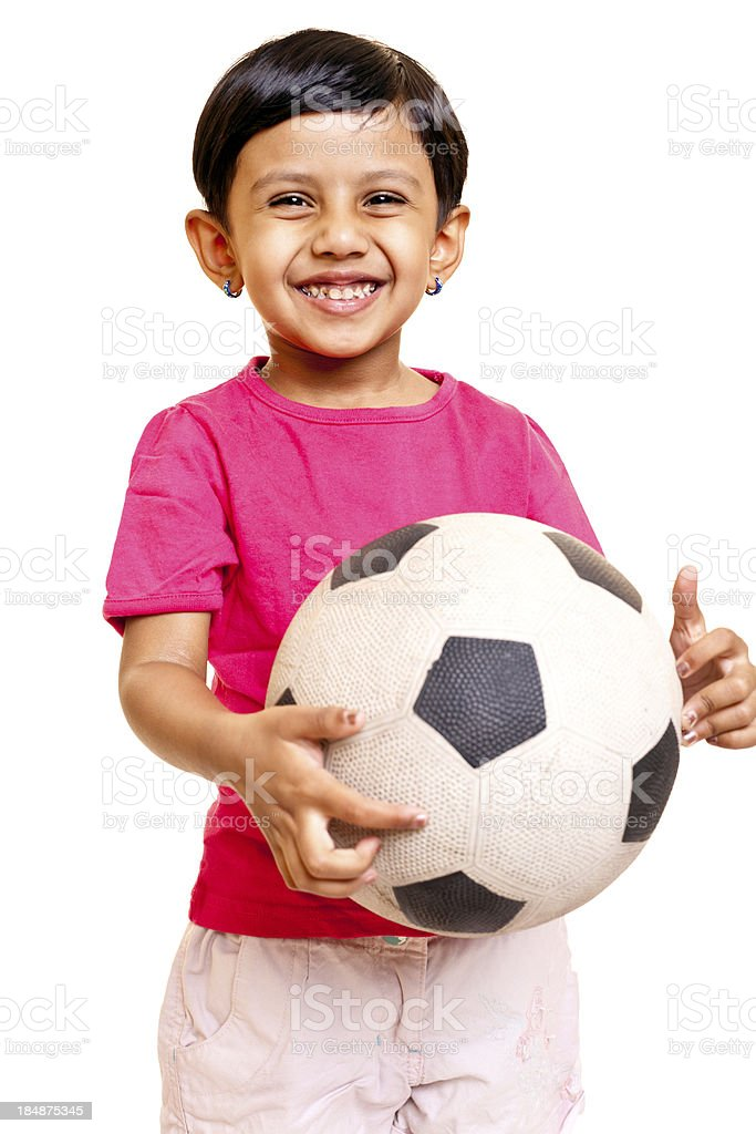 one cheerful indian girl standing with football Isolated on white royalty-free stock photo