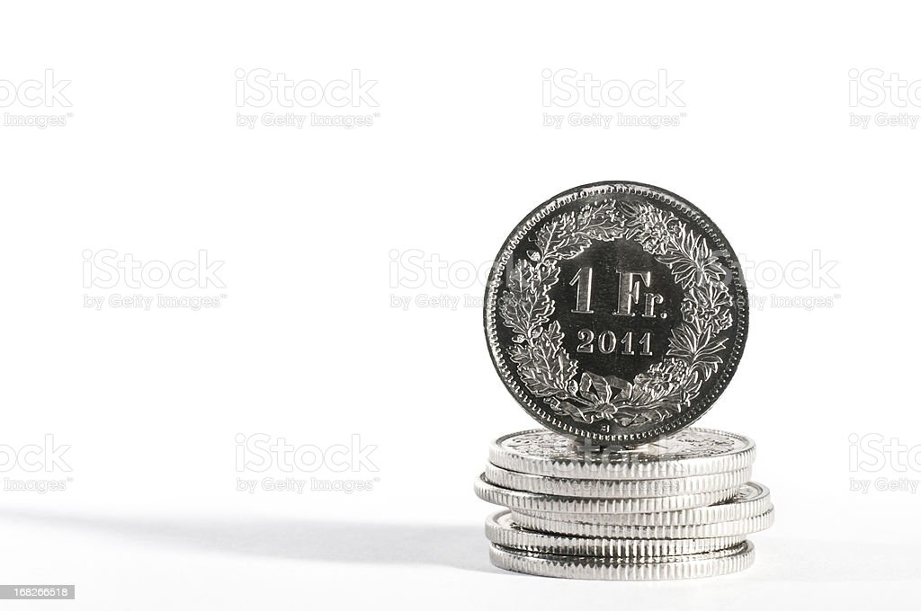 one CHF swiss currency coin with year 2011 stock photo