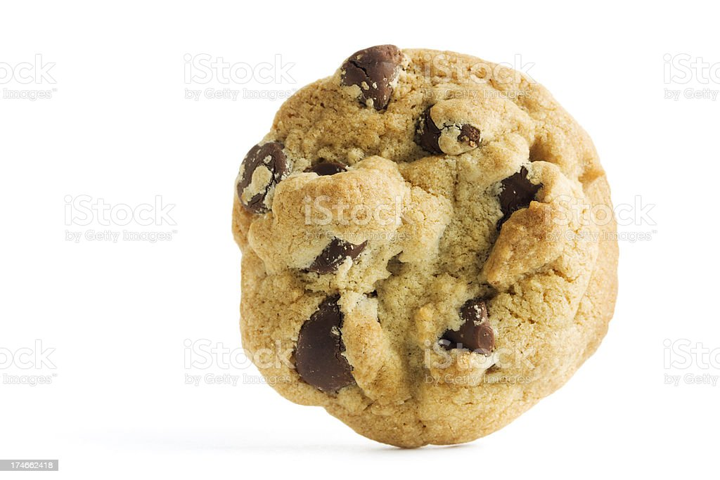 One Chocolate Chip Cookie, Gourmet Baked Dessert Isolated on White royalty-free stock photo