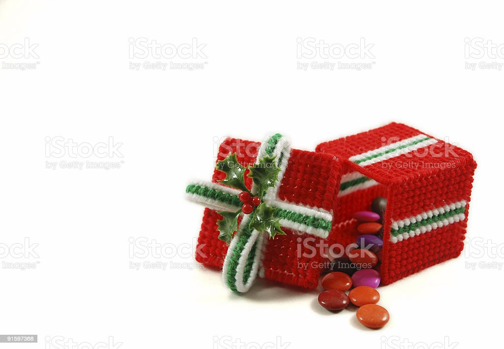 One Christmas Needlework Box with Candy royalty-free stock photo