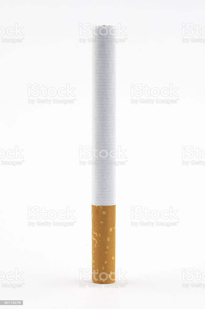 one cigarette on white background royalty-free stock photo